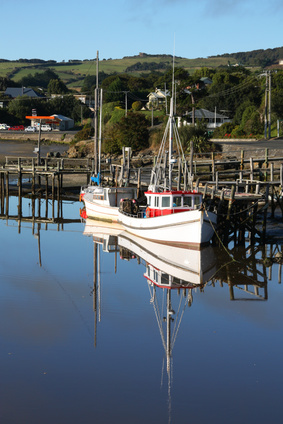 Riverton's scenic fishing harbour in Southland, New Zealand